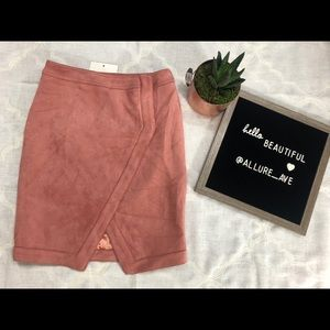 LF blush faux suede skirt